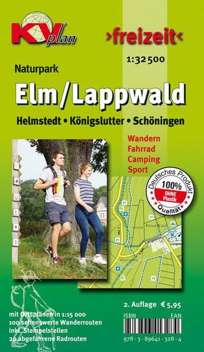 Elm / Lappwald: Wander- und Freizeitkarte mit Radrouten und Wanderwegen 1:30.000 + Ortspläne von Schöningen Helmstedt Königslutter 1:12.500