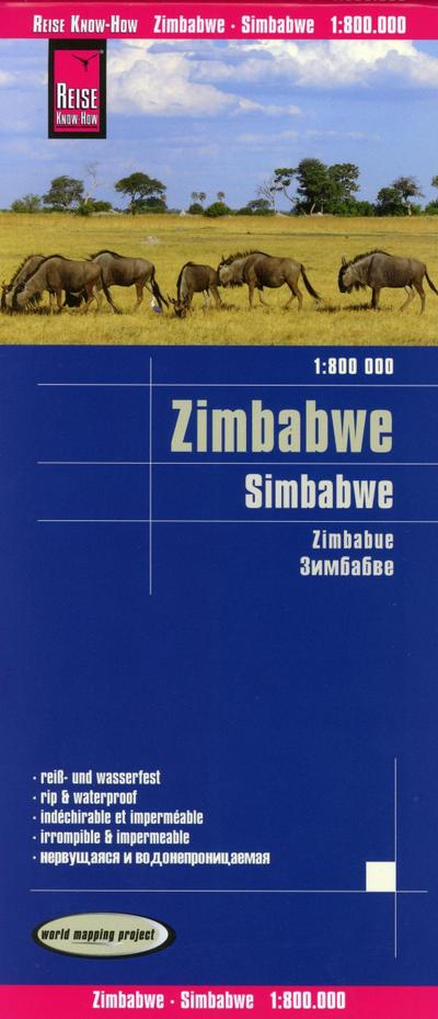 Reise Know-How Landkarte Simbabwe (1:800.000): world mapping project