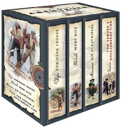 Die großen Klassiker der Abenteuerliteratur - Robinson Crusoe - Moby Dick - Die Schatzinsel - Tom Sawyer & Huckleberry Finn