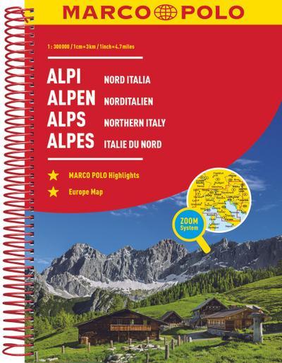 MARCO POLO Reiseatlas Alpen, Norditalien 1:300 000