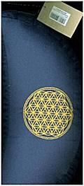 Meditationskissen mit Dinkelfüllung und Stickerei Blume des Lebens, blau
