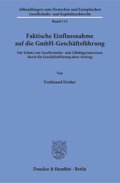 Faktische Einflussnahme auf die GmbH-Geschäftsführung