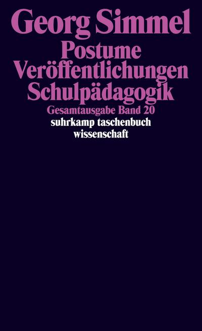 Gesamtausgabe in 24 Bänden: Band 20: Postume Veröffentlichungen. Ungedrucktes. Schulpädagogik (suhrkamp taschenbuch wissenschaft)