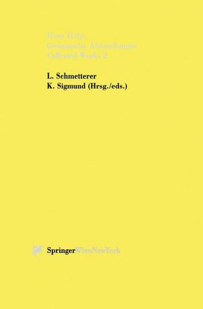 Hans Hahn Gesammelte Abhandlungen / Collected Works 2