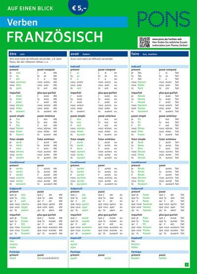 PONS Verben auf einen Blick Französisch (PONS Auf einen Blick)
