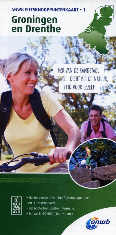 Knotenpunktkarte 01 Groningen en Drent 1:100 000 (ANWB fietskaart) - ANWB Media Inside Sales - Landkarte, Niederländisch, ANWB, ,