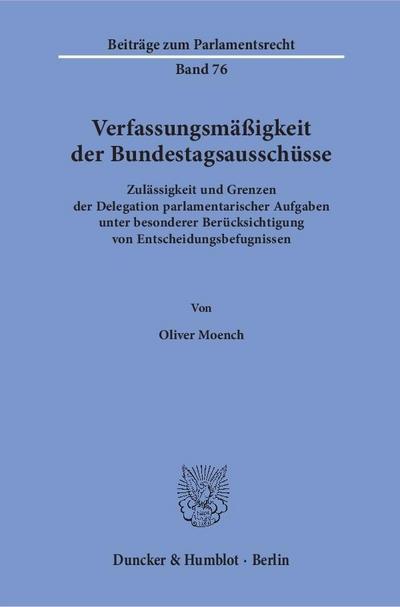 Verfassungsmäßigkeit der Bundestagsausschüsse