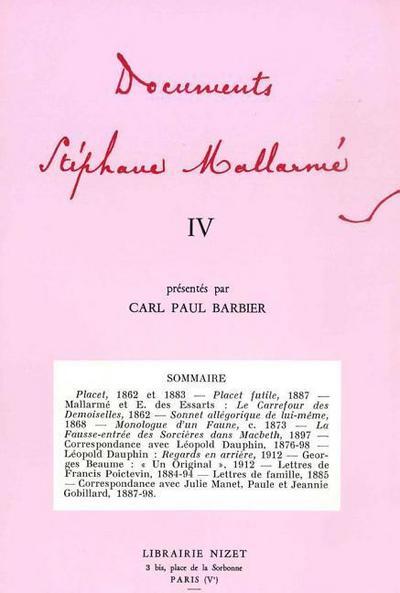 Documents Stephane Mallarme IV