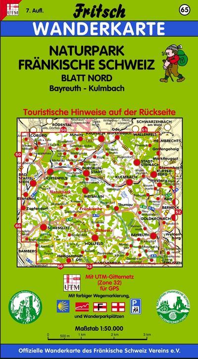 Naturpark Fränkische Schweiz Nord 1 : 50 000. Fritsch Wanderkarte