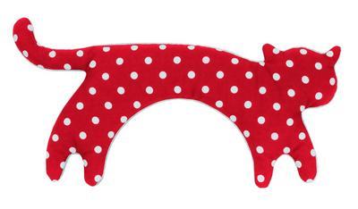 Wärmekissen, Die Katze Minina, stehend, groß, Fellfarbe: Polkadot rot / Mitternacht: Wärmekissen für den Nacken