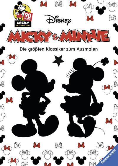 Micky und Minnie - Die größten Klassiker zum Ausmalen; 90 Jahre Micky Das Original; Ill. v. The Walt Disney Company; Deutsch; durchg. schw.-w. Ill. u. Text, mit Spotlack