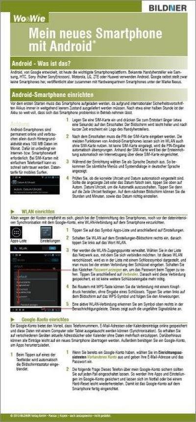 Mein neues Smartphone mit Android - BILDNER Verlag Gmbh - Taschenbuch, Deutsch, Christian Immler, ,