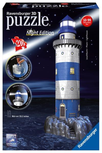 Ravensburger 12577 - Leuchtturm bei Nacht - 216 Teile 3D-Puzzle-Bauwerk Night Edition