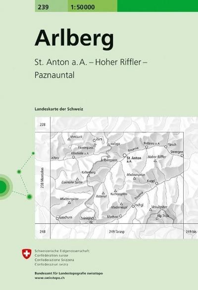 Swisstopo 1 : 50 000 Arlberg