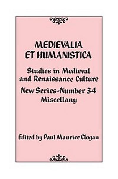 Medievalia et Humanistica, No. 34