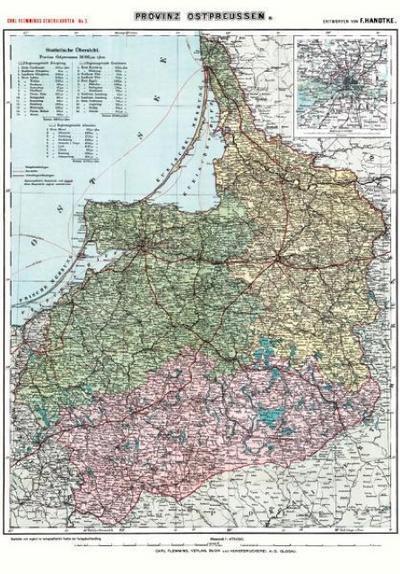 Historische Karte: Provinz Ostpreussen  um 1910 (Plano)