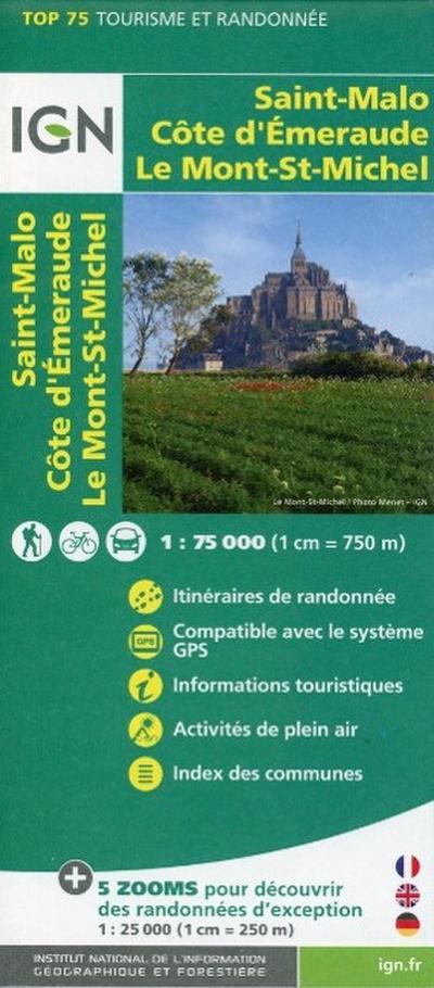 IGN 75 000 Saint Malo - Cote d'Emeraude - Le Mont-St-Michel