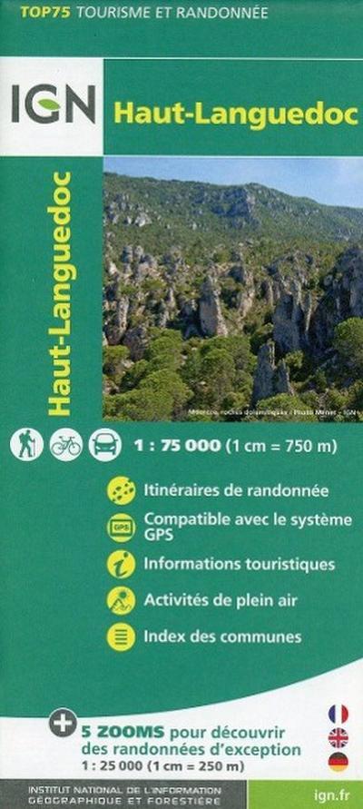 IGN 75 000 Touristische Wanderkarte Haut-Languedoc