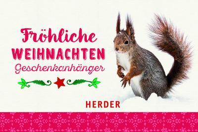 Fröhliche Weihnachten; Geschenkanhänger; Deutsch; Durchgehend vierfarbig