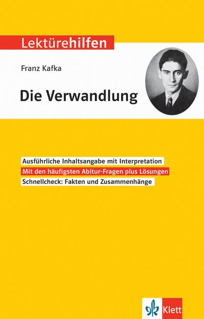 """Lektürehilfen Franz Kafka, """"Die Verwandlung"""". Interpretationshilfe für Oberstufe und Abitur"""