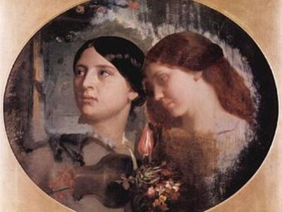 Charles Gleyre - Zwei Frauen mit Blumenstrauß, Oval - 500 Teile (Puzzle)