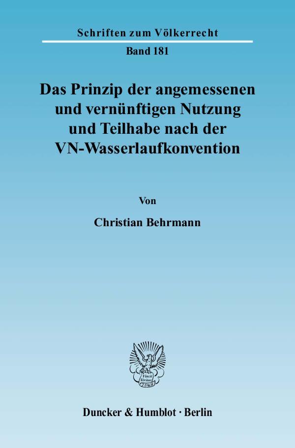 Das Prinzip der angemessenen und vernünftigen Nutzung und Teilhabe nach der ...