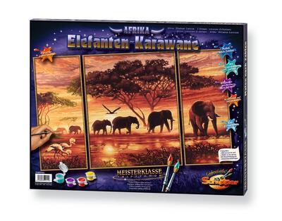 Schipper 609260455 - Malen nach Zahlen, Elefanten Karawane, 50x80 cm