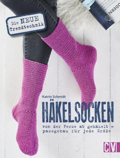 Häkelsocken; von der Ferse ab gehäkelt - passgenau für jede Größe; Deutsch; durchgeh. vierfarbig