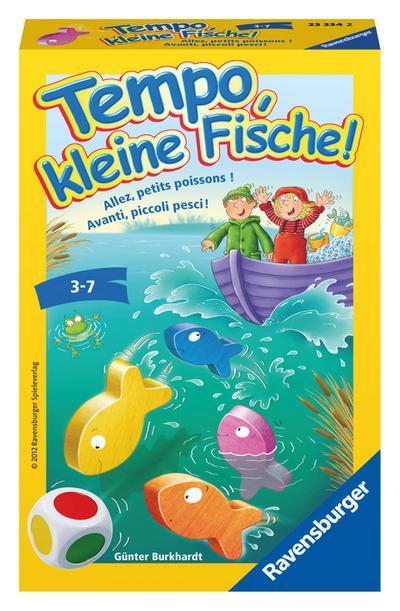Ravensburger 23334 - Tempo, kleine Fische, Mitbringspiel für 1-6 Spieler, Kinderspiel ab 3 Jahren, kompaktes Format, Reisespiel, Brettspiel