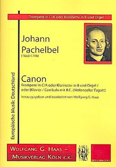 Canon : für Trompete (Klarinette) und Orgeloder Klavier (Cembalo) und Bc