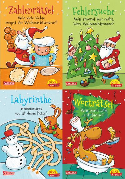Pixi kreativ Serie Nr. 18: Lustige Weihnachtsrätsel (4 x 7 Exemplare)