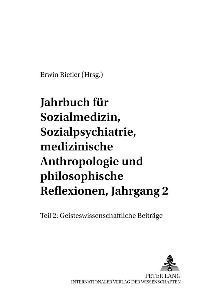 Jahrbuch für Sozialmedizin, Sozialpsychiatrie, medizinische Anthropologie u ...