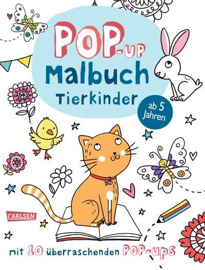 Pop-Up-Malbuch: Tierkinder; Malen und Basteln mit 10 überraschenden Pop-Ups!; Ill. v. Poitier, Anton; Deutsch; Farbig illustriert; Keine Altersbeschränkung