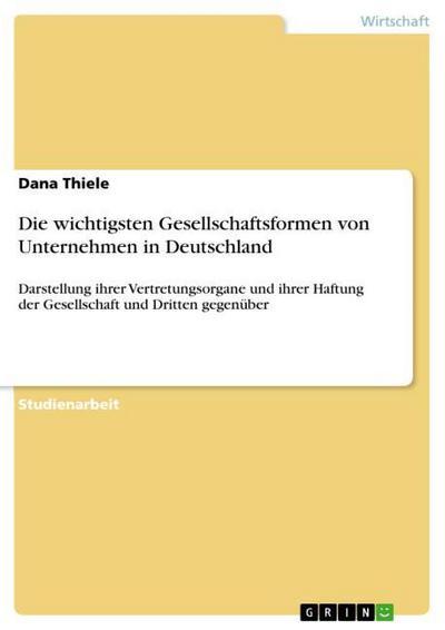 Die wichtigsten Gesellschaftsformen von Unternehmen in Deutschland