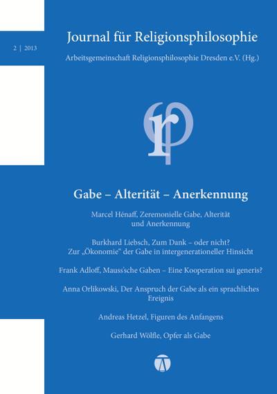 Journal für Religionsphilosophie: Nr. 2 (2013)