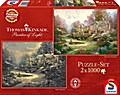 Thomas Kinkade, Sonnenuntergang in Riverbend/Winter in Riverbend. Puzzle 2 x 1.000 Teile