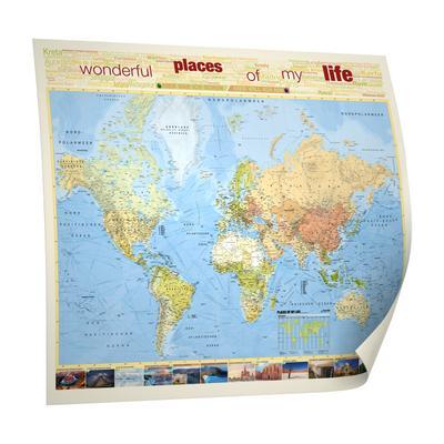 Weltkarte Places of my life, deutschsprachig, 1:51 Mio., inkl. Metallbeleistung, Edition Neoballs: Set aus Magnetkugeln (2x9 Stück grün und blau, 18 Backdisc) - BACHER Verlag Gmbh - Poster, Deutsch, BACHER Verlag GmbH, ,