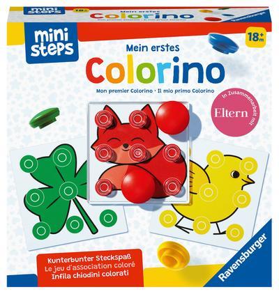 Ravensburger ministeps 4186 Mein erstes Colorino, Klassisches Steckspiel zum Farbenlernen - Spielzeug ab 18 Monaten