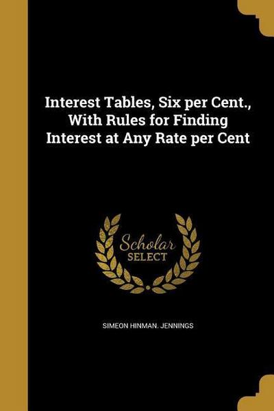 INTEREST TABLES 6 PER CENT W/R