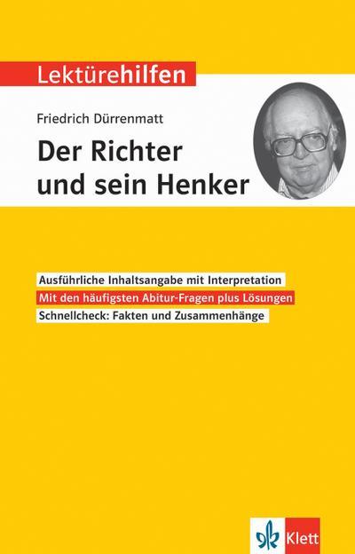"""Klett Lektürehilfen Friedrich Dürrenmatt, """"Der Richter und sein Henker"""""""