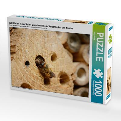 Mauerbiene beim Verschließen des Nestes (Puzzle)