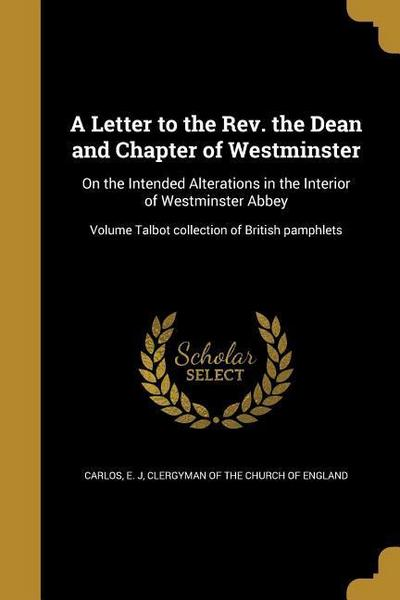 LETTER TO THE REV THE DEAN & C