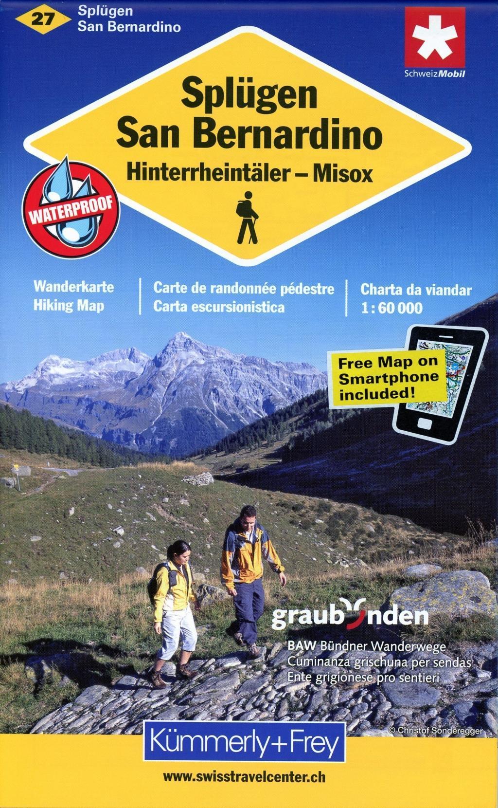 KuF Schweiz Wanderkarte 27 Splügen-San Bernardino 1 : 60 000