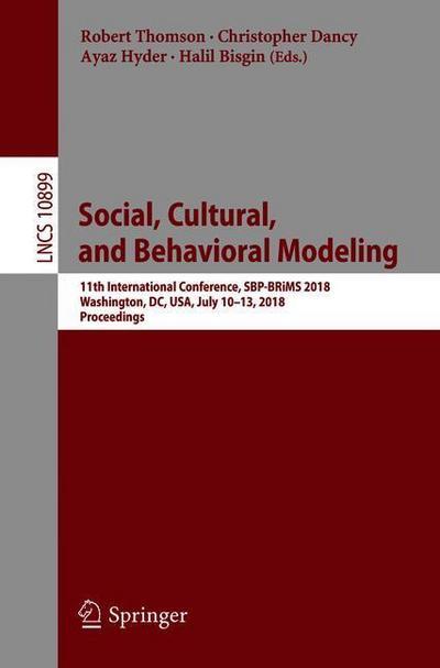 Social, Cultural, and Behavioral Modeling