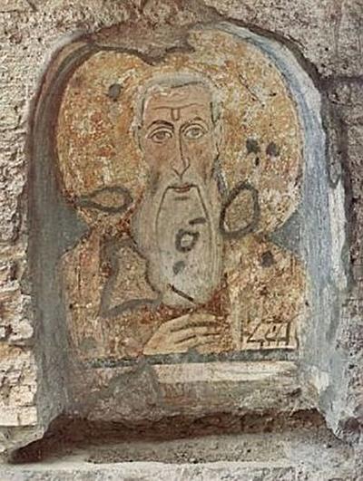 Byzantinischer Maler 7. Jahrhundert - Fresko im Mittelschiff von Santa Maria Antiqua, Hl. Abbacyrus - 100 Teile (Puzzle)