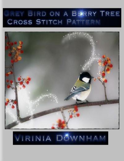 Grey Bird on a Berry Tree Cross Stitch Pattern