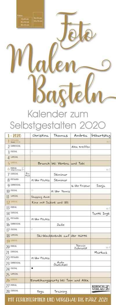 Foto-Malen-Basteln Familientimer gold 2020