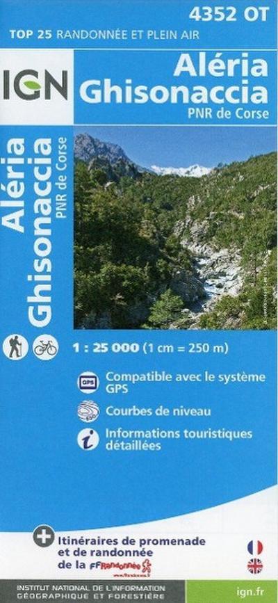 Korsika Aléria - Ghisonaccia - Parque National de la Corse 1 : 25 000