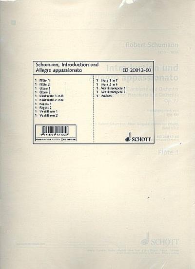Introduction und Allegro appassionato G-Dur: Concertstück für Pianoforte und Orchester. op. 92. Klavier und Orchester. Bläserstimmensatz. (Edition Schott)