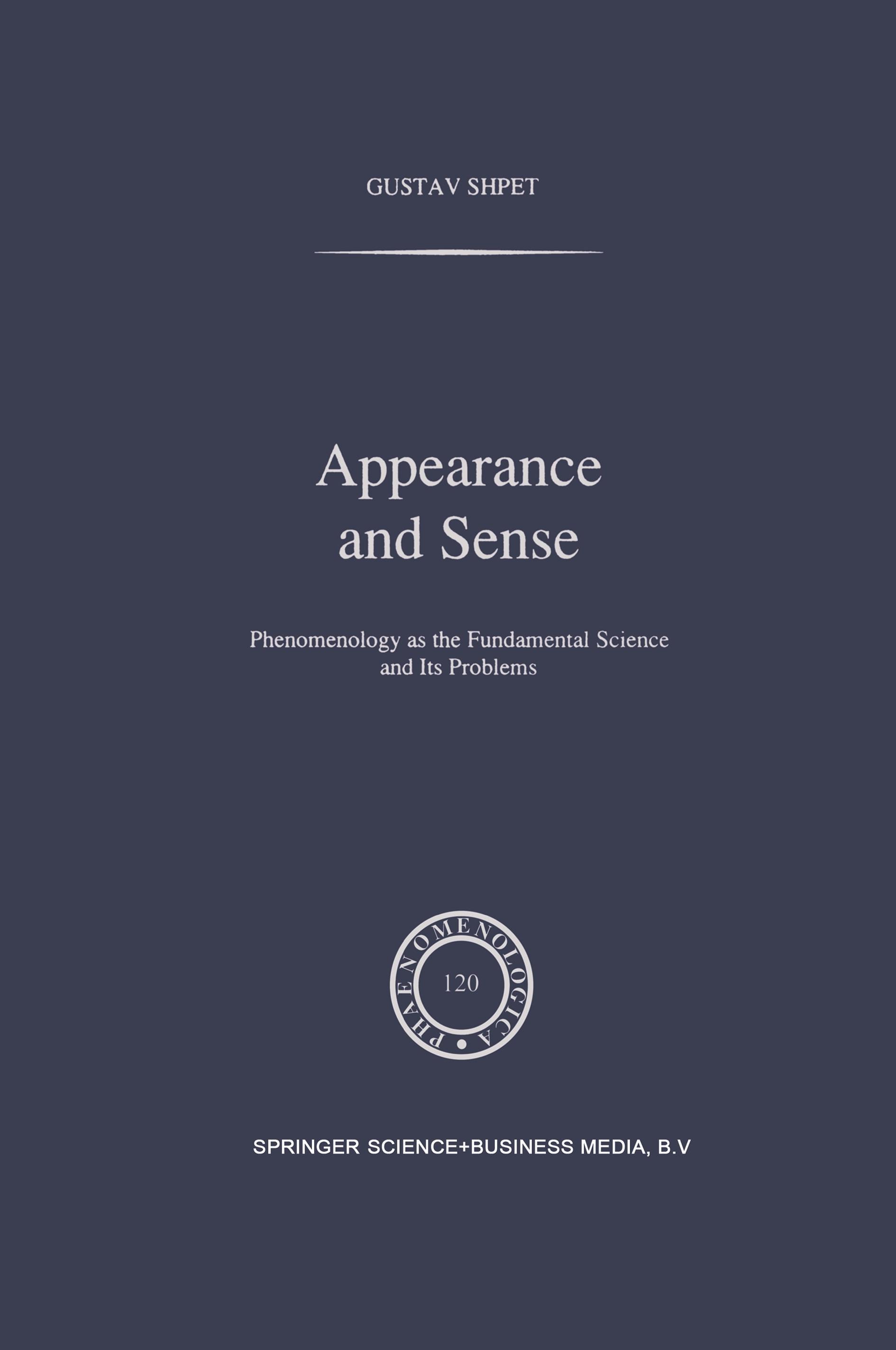 Appearance and Sense Gustav Shpet